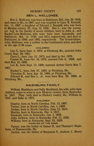 Wilson's history of Hickory County (1909), pg 145