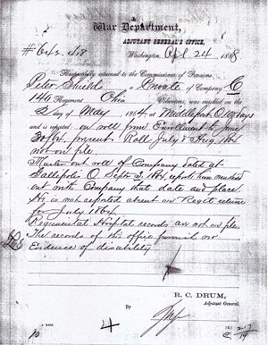 Peter Shields of Meigs Co. Ohio Civil War Records Image 3