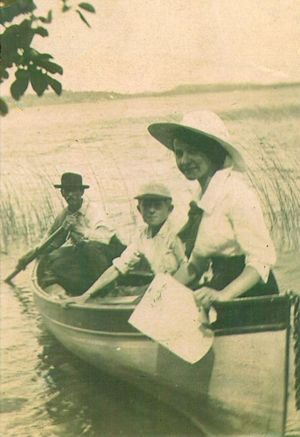 Arthur Mampel and two of his wife's relatives in a boat