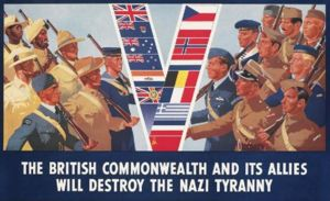 A British poster from 1941, promoting the greater alliance against Germany.