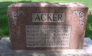 Stephen Acker family tombstone