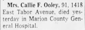 Callie F Ooely - Obituary 1966