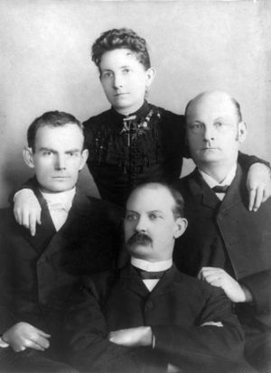 Bob,Cole and Jim Younger with their sister  Henrietta