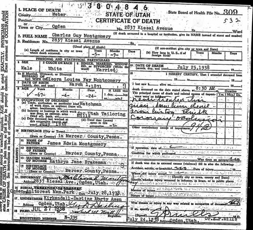 Utah, Death and Military Death Certificates, 1904-1961