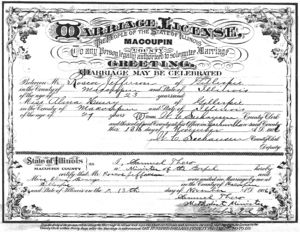 Elijah Roscoe Jeffries and Alma (Henry) Jeffries' marriage record.