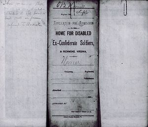 Otway B. Norvell - Application to Old Confederate Soldiers Home
