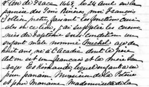 Baptism of Michel Hache-Gallant, son of Pierre L'Arche, 24 Apr 1668 in Trois Rivieres, Quebec