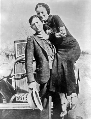 Bonnie Parker and Clyde Barrow, sometime between 1932 and 1934