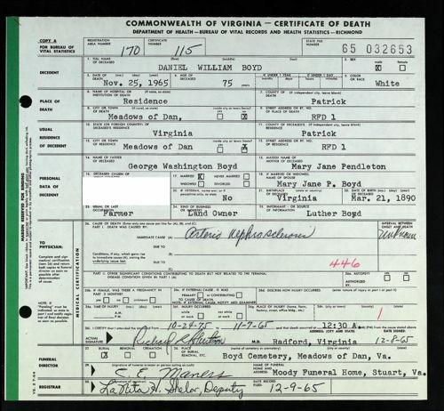 Virginia, Death Records, 1912-2014 for Daniel William Boyd