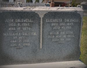 Headstone for John & Margaret Caldwell with thier mothers, Elizabeth Howie and Helen Howie