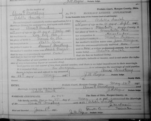 Adella (Price) Smith to Amos F  Armstrong's Marriage License