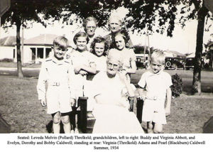 Leveda Melvin Pollard Threlkeld and Grandchildren, Summer 1934