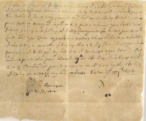Note to Ballard from Nathaniel Bacon