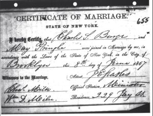 Certificate of Marriage: Charles Scott Burge and May Pringle