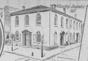 A sketch of the Dramatic Hall as it looked circa 1880