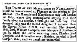 Death of the Marchioness of Northampton