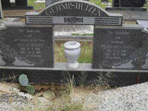 Headstone of Jan Albertus and Wilhelmina Anna (Esterhuiyse) Germishuizen