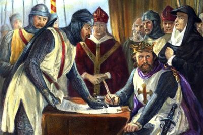 Artist rendering of King John reluctantly signing Magna Carta, overseen by barons and abbots.