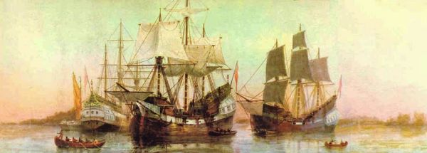 Arrival of Winthrop's Company in Boston Harbor (1630) by William Formby Halsall (painted ca. 1880)