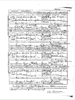 Matilda Wasson and George Crawford Marriage record