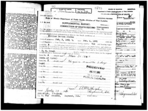 William Marion Rhodes supplemental death certificate report