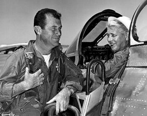 Cochran in her record-setting F-86, talking with Charles E. Yeager