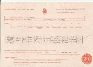 Birth record for Annie May Hunt