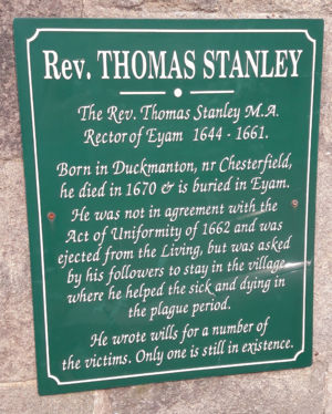 Commemorative plaque to thomas Stanley in Eyam Village.