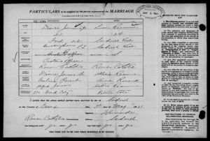 Lucy Mary Reaume and Désiré Jemus, Jr. Copy of 1921 Marriage License