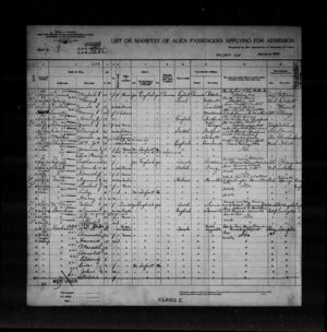 1918 immigration list, Port Huron, Michigan