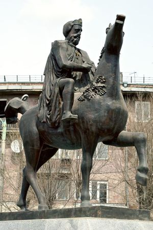 Statue of King Ashot III of Armenia, at Voghormats, Gyumri, Armenia