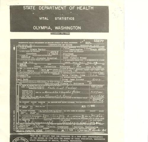 Leona Catherine (Budd) Robinson Death Certificate