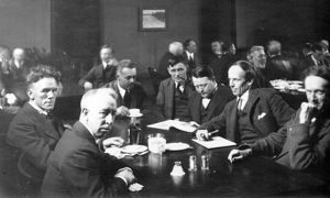 Six of the Group of Seven, plus their friend Barker Fairley, in 1920. From left to right:  A. Y. Jackson, F. H. Varley, Lawren Harris, Fairley, Frank Johnston, Arthur Lismer, and J. E. H. MacDonald