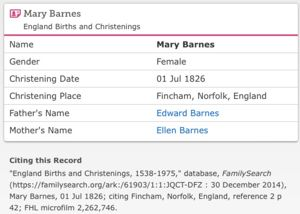Baptism of Mary BARNES