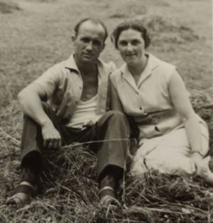 Stephan Kaiser with his wife in the feilds in the town of Kassel
