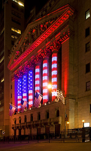 The New York Stock Exchange on Wall Street, New York City Decorated with the American Flag