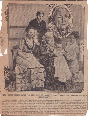 Mrs. Julia Ward Howe at the Age of 90 and Three Generations of Her Descendants