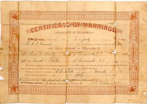 Marriage Record: Charles Franklin Stanley and Sarah Elizabeth White