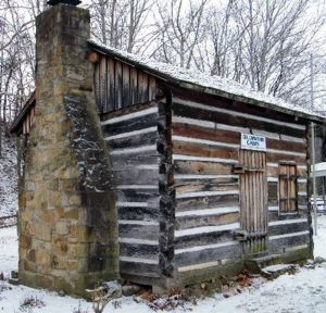 A reconstruction of William Crawford's log cabin
