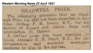 Award of Shadwell Prize to Lieutenant commander Arthur Perfect Meredith Lewes R.N.