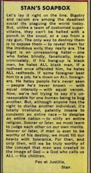 Stan Lee weighs in on bigotry