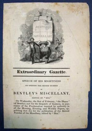 "Bentley Miscellany graphic.  From an English publisher, Richard Bentley, who worked with Charles Dickens. Dickens ""paraphrased the average Royal speech, and by the use of bombastic and ponderous expressions announced the coming of 'Oliver Twist'"""