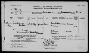 Louis Petrus Johannes Becker Marriage record