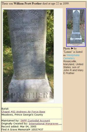 Grave of William Pratt Prather who died at 22