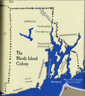 Roger Williams Map Rhode Island