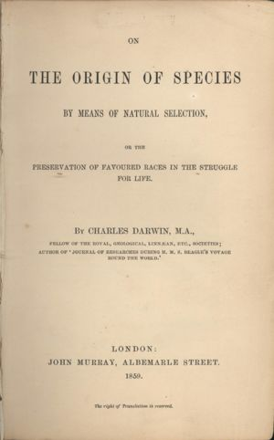 Title page 'The Origin of Species'