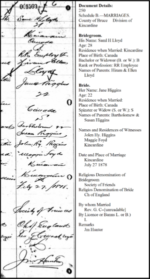 Marriage Licence for Samuel H Lloyd and Jane Higgins