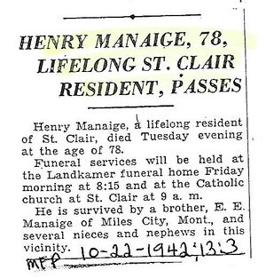 Henry Manaige Obituary