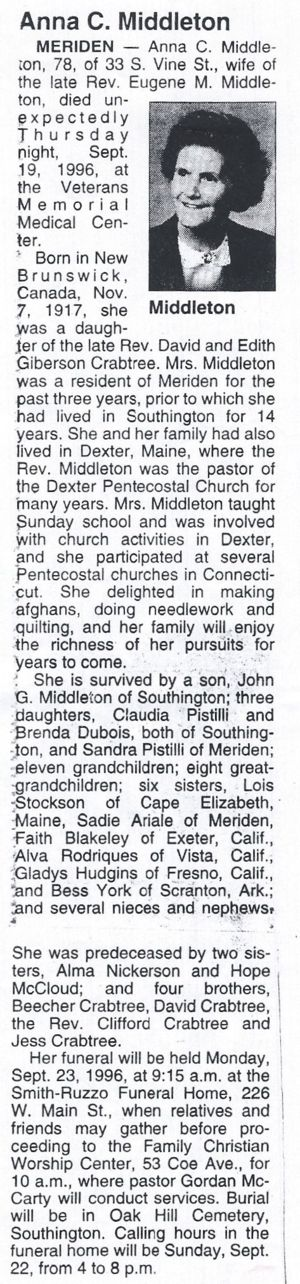 Anna Middleton Obituary unknown newspaper