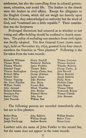 44 Founders of Milford, Connecticut